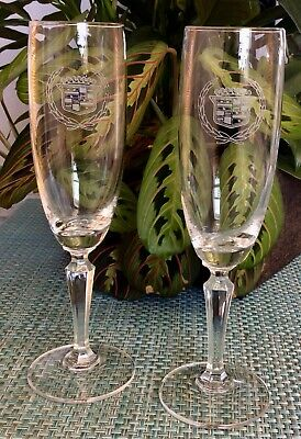 Set Of Two Cadillac Logo Etched/Engraved Champagne Flute Glasses