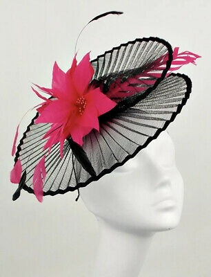 Suzanne Bettley Black And Hot Pink Wedding  Hat Disc Fascinator Occasion Formal