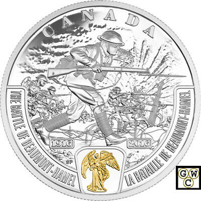 2016Beaumont-Hamel -Battlefront' Prf $20 Gold-Plated Fine Silver Coin(17699)OOAK