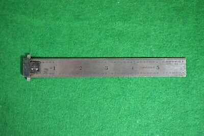 """Vintage 1926 L.S. Starrett No. 303 Double Hook Rule 6"""" Tempered No.4"""