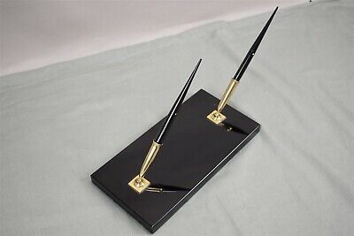Vintage Black Onyx Sheaffer's Fountain Pen Desk Set White Dot With 14K Gold Nib