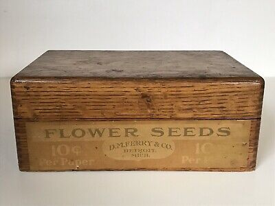 Vintage Oak D.M. Ferry & Co Flower Seeds Box Detroit Michigan Store Advertising