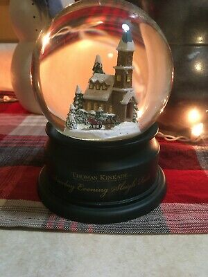 Hallmark Thomas Kinkade Snow Globe Sunday Evening Sleigh Ride