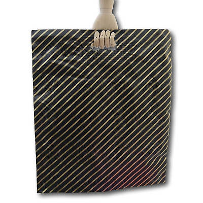 EPOSGEAR® Black and Gold Striped Gift Shop Boutique Strong Patch Handle Plastic