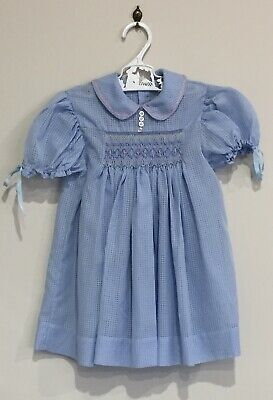Vintage Baby Girls Smocked Dress Handmade Christening Wedding Dolls Blue