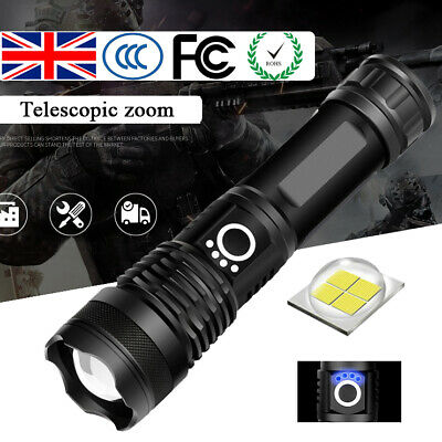 High Power 900000LM XHP50 XHP70 Zoom Flashlight LED Rechargeable Torch Headlamp