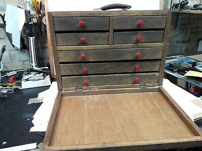 Vintage Engineers 7 Drawer Tool Chest Cabinet wood 18 x 8 x 13'' needs tidying