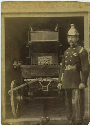 Photo Of Fireman Beside Very Old Merryweather Horse Drawn Fire Engine c1890s