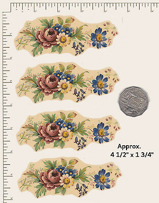 "4 x Waterslide ceramic decals Spring Flowers Mix Approx. 3 1/2"" x 1 3/4""  PD816"