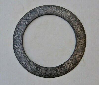 Vtg steel damascened indian sikh chakram quoit disc nihang akali warrior weapon