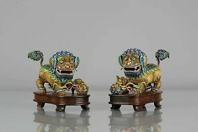 Pair 19th / 20th century Chinese Silver Enamelled Foo Lions Marked on th...