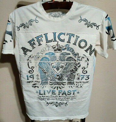 Distressed Affliction Live Fast T-Shirt (Mens Medium - Made In The USA)