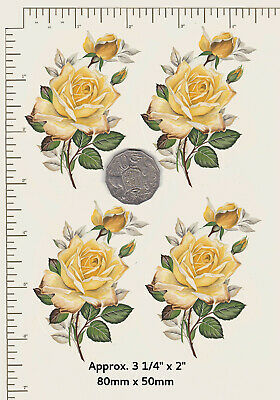 CERAMIC DECALS. Waterslide YELLOW ROSES. ROSEBUDS  3 Options Decoupage PD802
