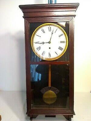 En Welch Mahogany Finish Regulator Antique Clock Circa 1917