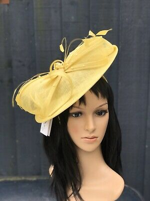 PETER BETTLEY YELLOW WEDDING  DISC FASCINATOR Mother Of The Bride Hat OCCASION