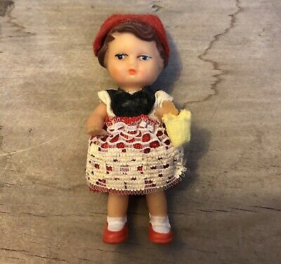 Vintage German (Ari ?) Little Red Riding Hood Dollhouse Doll With Small Basket