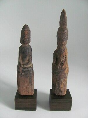 Pair of Mounted Antique Thai / Southeast Asian Seated Wood Buddha Figures