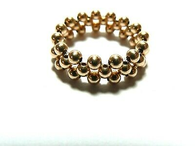 Sterling Silver Or Solid 9ct Gold Or Mixed Stretch Double Row Bead Ring 9mm Wide