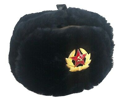 Russian Soldiers Soviet Military Style Army Cossack Navy Ushanka Hat USSR Badge