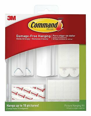 3M Command Picture Hanging Kit Sawtooth Wire Back Photo Hanger Hooks Nail Canvas