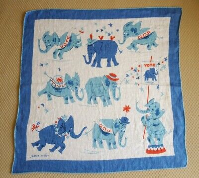 VTG~GOP Republican Party Elephant Handkerchief~Jeanne Miller~Vote~Political