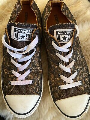 Converse All Star Low Cheetah Print Black Gold  Metallic Chucks Girls 4 Womens 6
