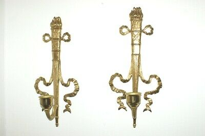 Pair Brass Or Bronze Shelf Wall Sconce For Candle ..Frence  Ornate N/R
