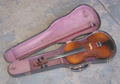 Stradivarius Copy Violin w/ Bow & Case. Czechoslavakia. Nice Tiger Maple Back.