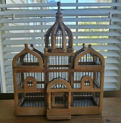 """Vintage Victorian 19"""" Large Domed Cathedral Taj Mahal Style Wooden Bird Cage"""