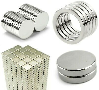Neodymium Magnets ~ 2mm thick small ROUND DISCS, Cubes SQUARES, RINGS with Hole