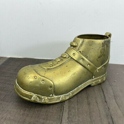 Authentic Vintage Brass Walking Boot with Studs Snow Metal fireplace Decor Rare