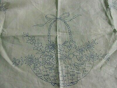 Tray Cloth printed to hand embroider Flowers cotton with Lace edge CSOO50