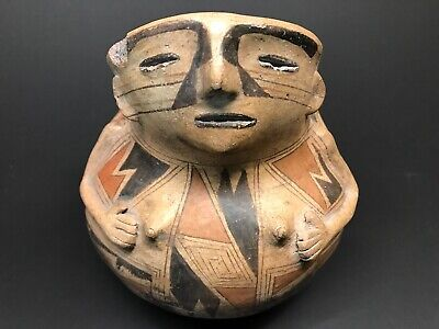 MLC s5174 Defined Well Made Polychrome Casas Grandes Human Effigy Pottery Mexico