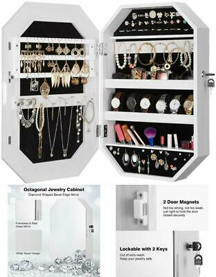 Mirrored Jewelry Cabinet Armoire Storage Saver Organizer Wall Door Mounted Hexa