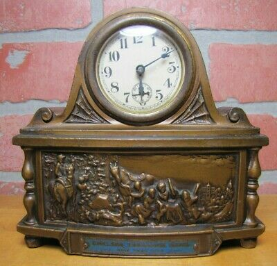 CHELSEA EXCHANGE BANK NEW YORK CITY Antique Advertising Clock Waterbury Co