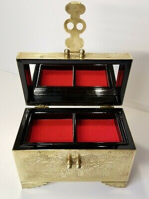 Vintage Chinese StoryTeller Brass Engraved Jewelry Box Mirror Black Lacquer Red