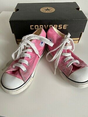 Converse High Top Girls Boots Size 9 Child's Pink With Box Used