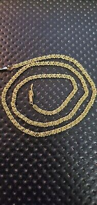 Solid 14K Yellow Gold HEART LINK Chain Necklace Solid 14kt 6.9 Grams 2.6mm 18""