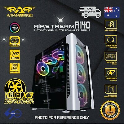 E -ATX Gaming PC Case AirStream R140 with 3x140mm RGB Fans (Front)