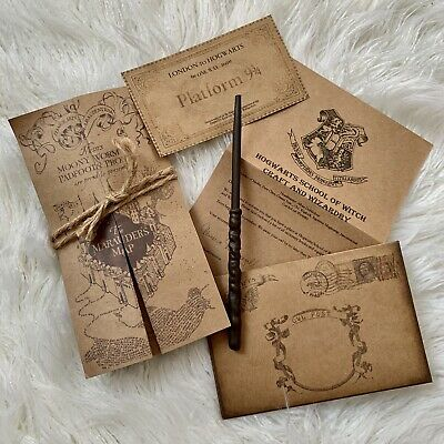 Harry Potter Pack - Marauders Map, Wand, Ticket, Hogwarts Acceptance Letter