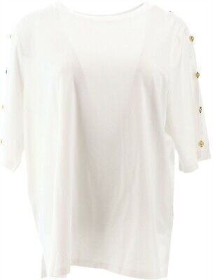 Martha Stewart Knit Boatneck Elbow-Sleeve Top Button Optic White 1X NEW A309311