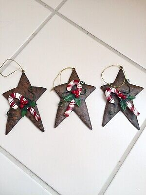 Country Stars Christmas Ornaments Metal Tin Primitive Rusty Candy Canes Set of 3