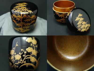 Japan Lacquer Wooden Tea caddy The Four Classic Plants makie Natsume NASHIJI 107