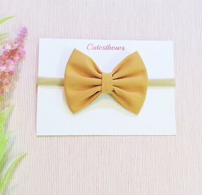 Large Baby Girl Bow Headband/Newborn Headband / Honey Mustard Bow/ Fabric BowAus
