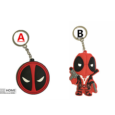 Deadpool 3D Double-faced Key Ring Rubber Key Chain CARTOON Kids Rubber Movie New