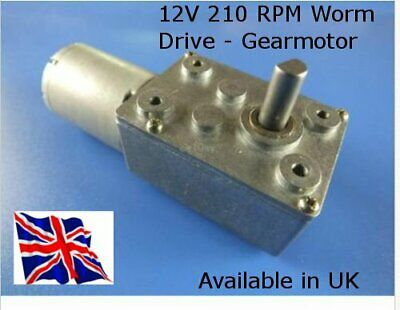DC 12V 210 RPM Reversable - Worm Drive Motor & GBox  Hi Torque - Available in UK