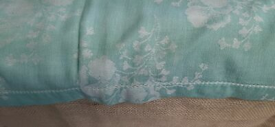 "Vtg Damask Linen Tablecloth Turquoise 52"" by 96"" rectangular"