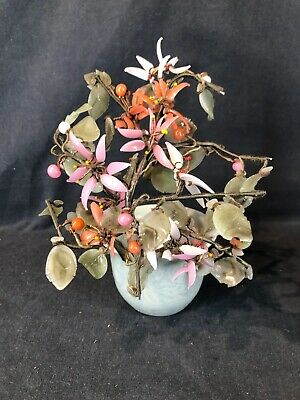 Bonsai Chinese Carved Glass Jade Blossom Tree Celadon Pot (ref T315)