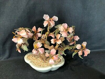 Bonsai Chinese Carved Glass Jade Blossom Tree Celadon Pot (ref T316)