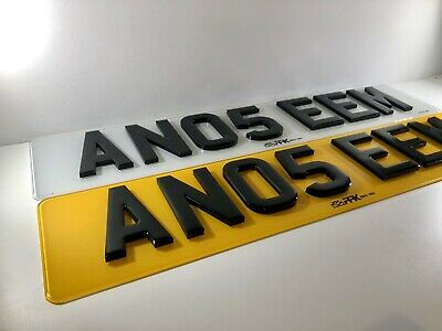 Pair Of Road Legal Front & Rear 4D 3D 5MM Thick Laser Cut&Gel Top Number Plates